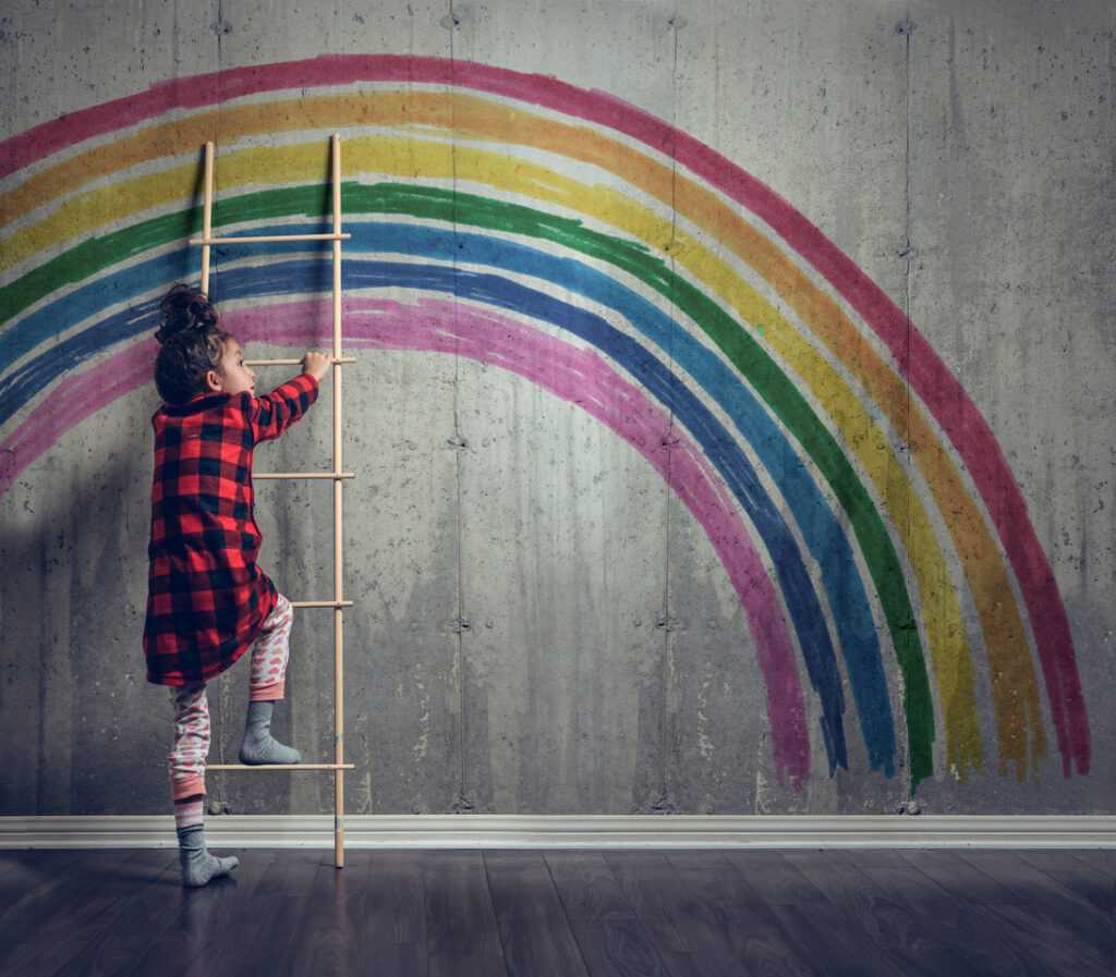 Mädchen Regenbogen